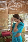 Aishwarya Arjun Flaunts in Blue Saree