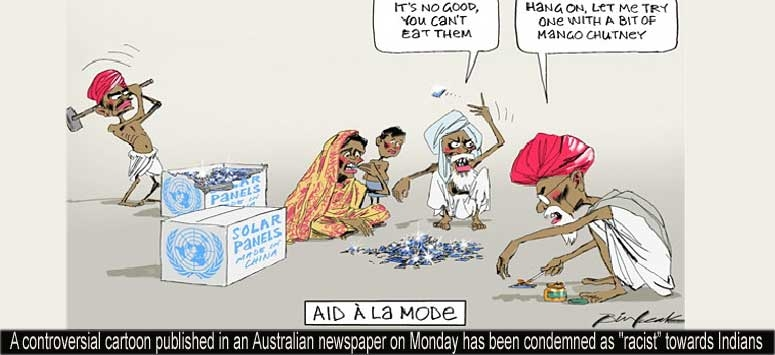 Australian cartoon depicts as Indian eating solar panels