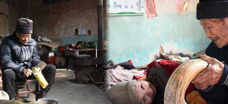 Chinese caring his bed ridden wife for 56 years